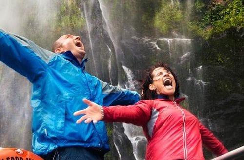 People enjoying Waterfall in Milford