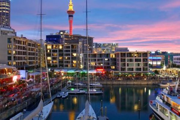 Exciting view of Auckland with glittering ships and buildings