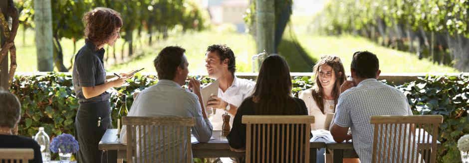 Dining in vineyard and people ordering food