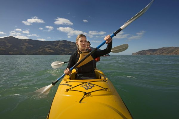 rowing through water
