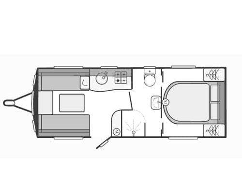 4 berth caravan top view Layout
