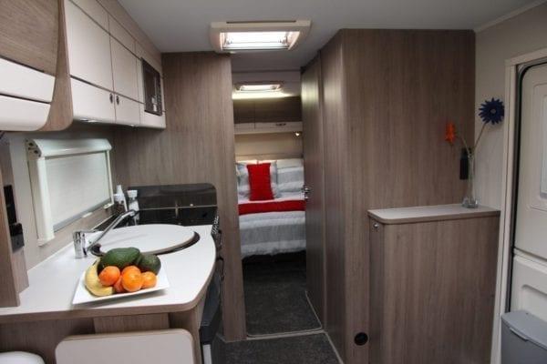 Casita 4 berth caravan view to bed
