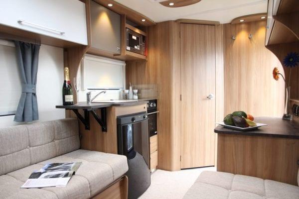 Pursuit 2 berth caravan view to kitchen and bathroom