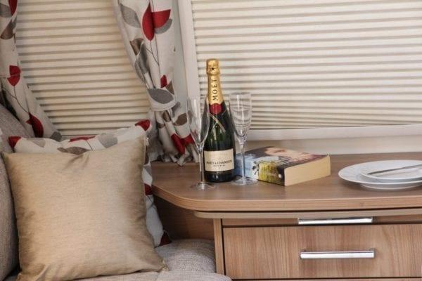 wine and cushion Bailey 4 berth caravan